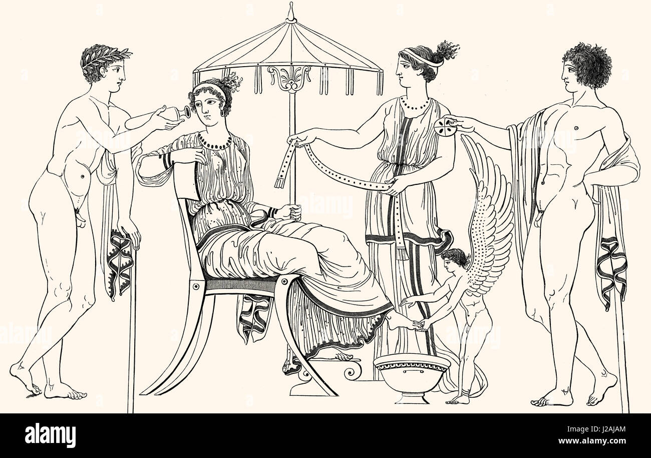 Decorating the bride in ancient Greece Stock Photo