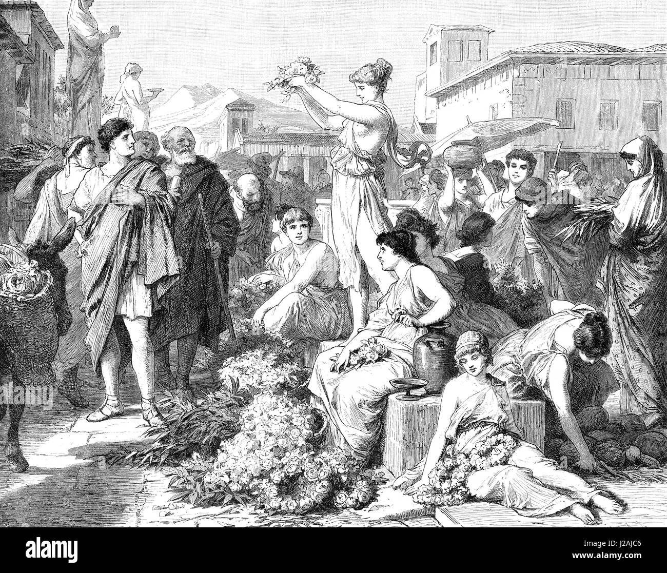 Flower market at Athens in ancient Greece - Stock Image