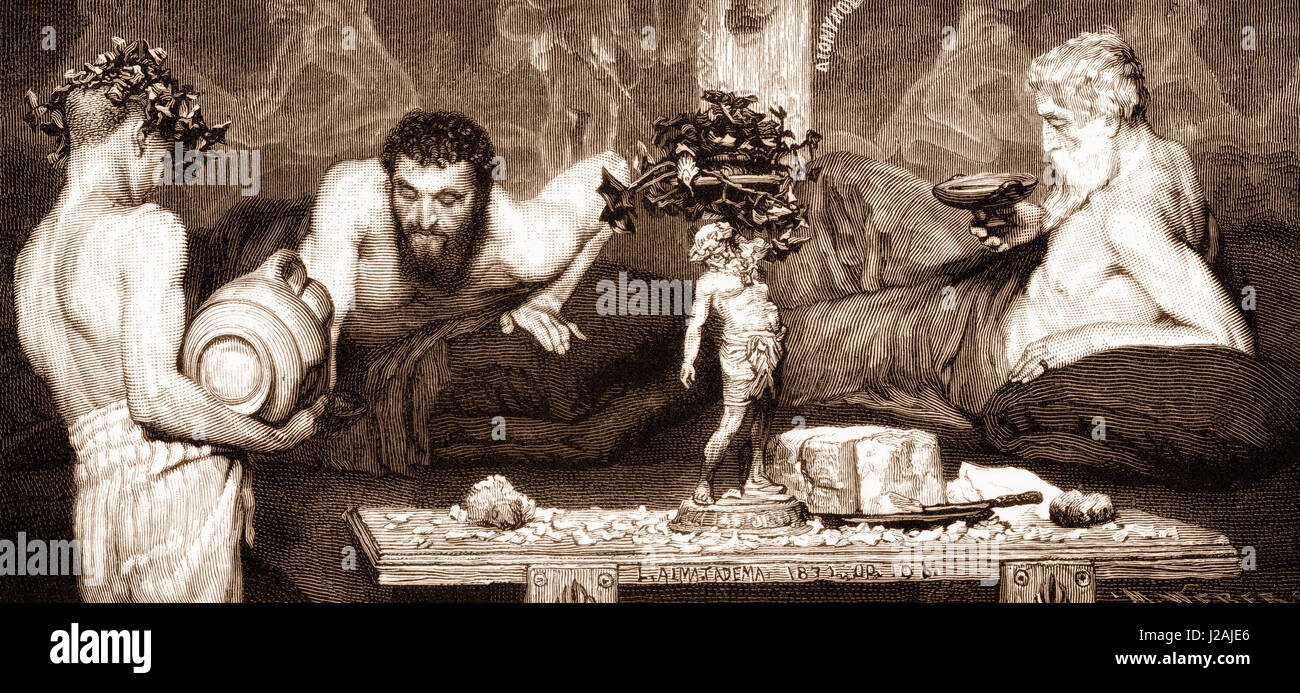 Men drinking wine in ancient Greece Stock Photo
