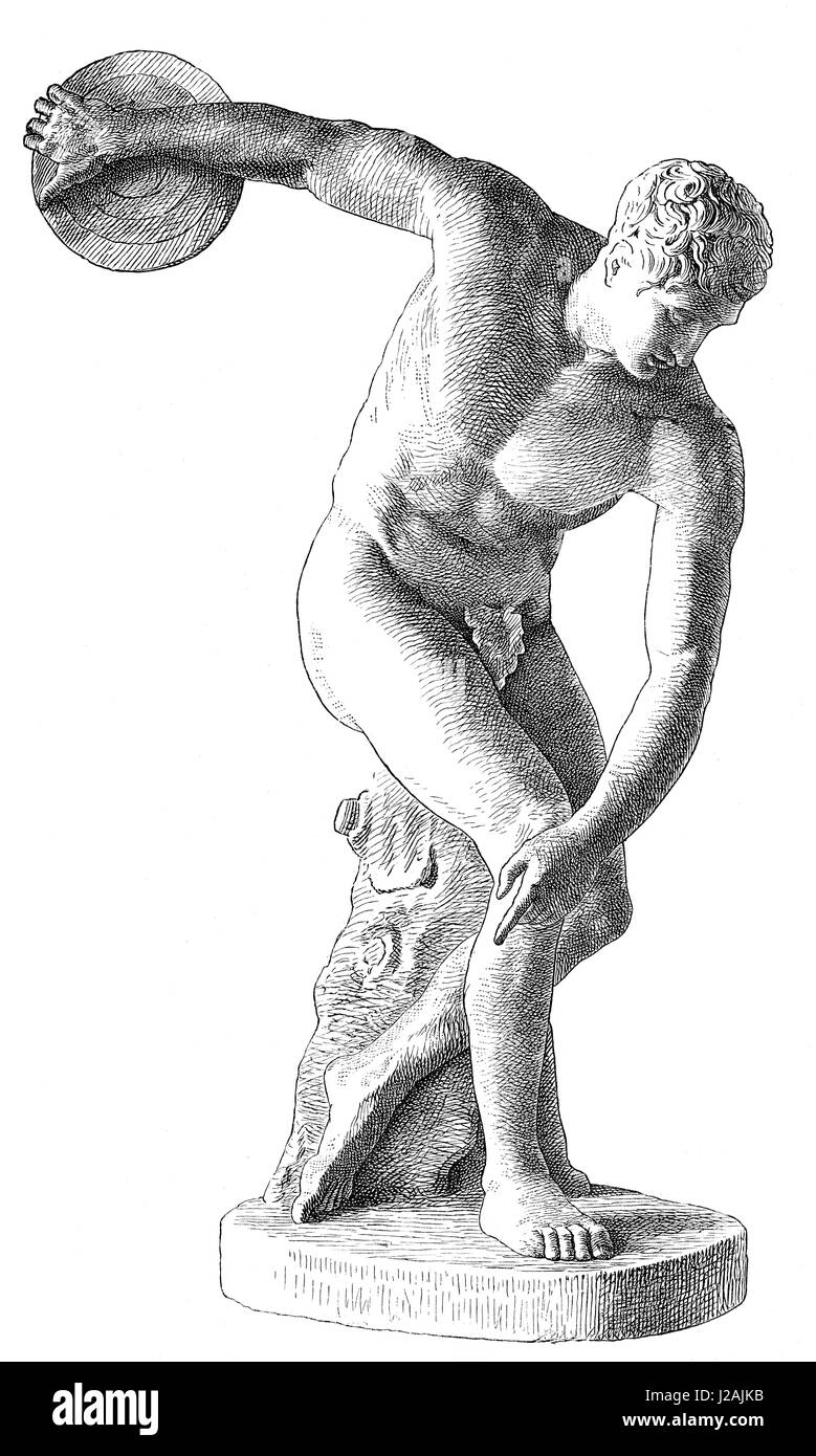 The Discobolus, a Greek statue, ancient Olympic discus thrower - Stock Image