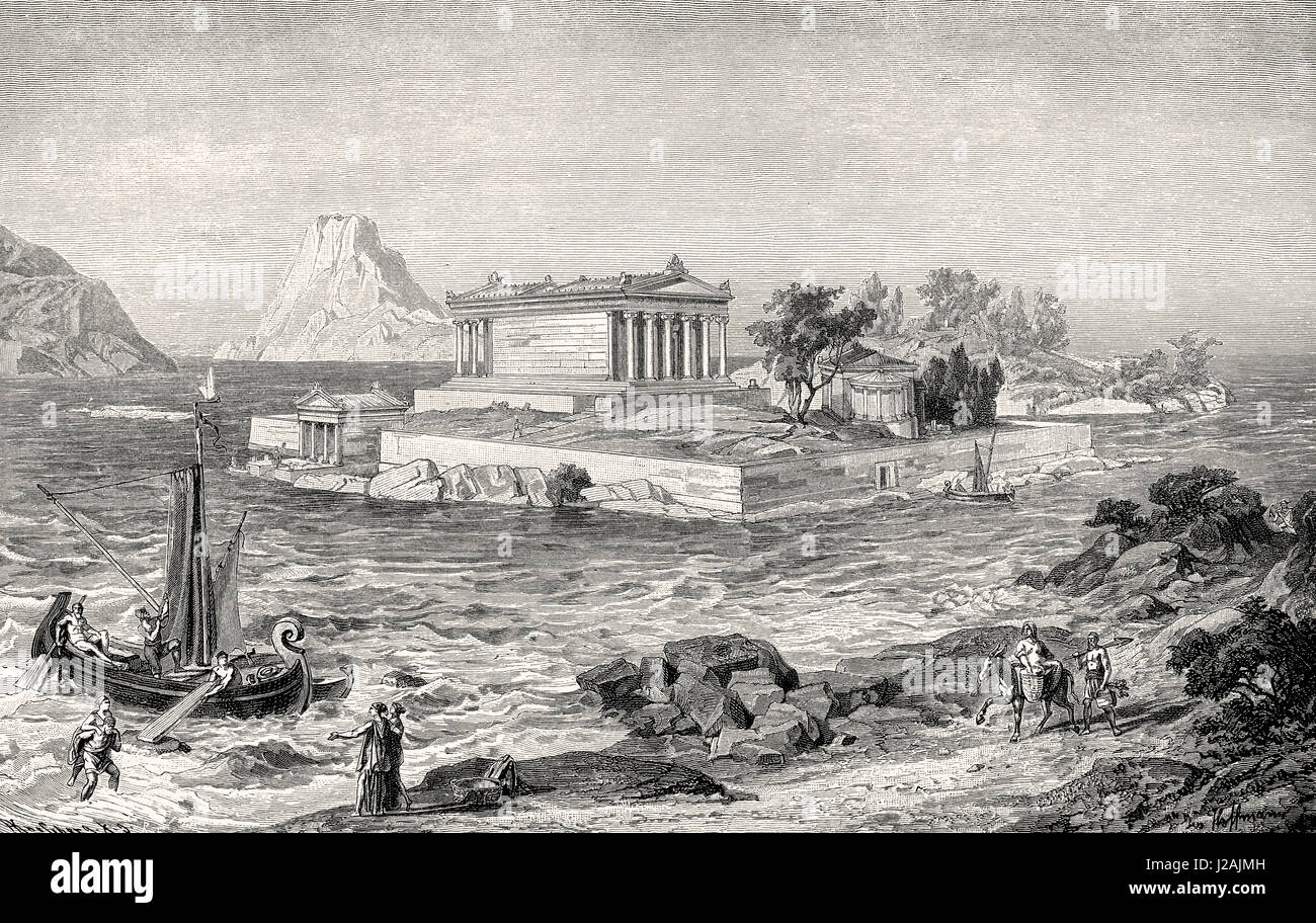Reconstruction of the Athena Apatoria temple by Aithra in Sphairia, Poros,  Peloponnese, ancient Greece - Stock Image