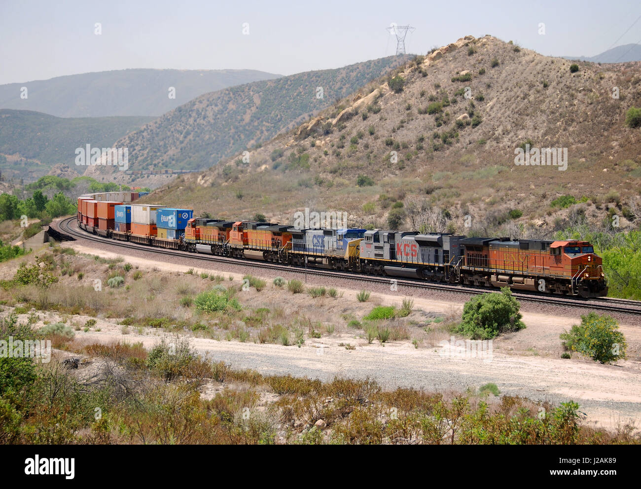 Freight train at Cajon Pass, San Bernardino County