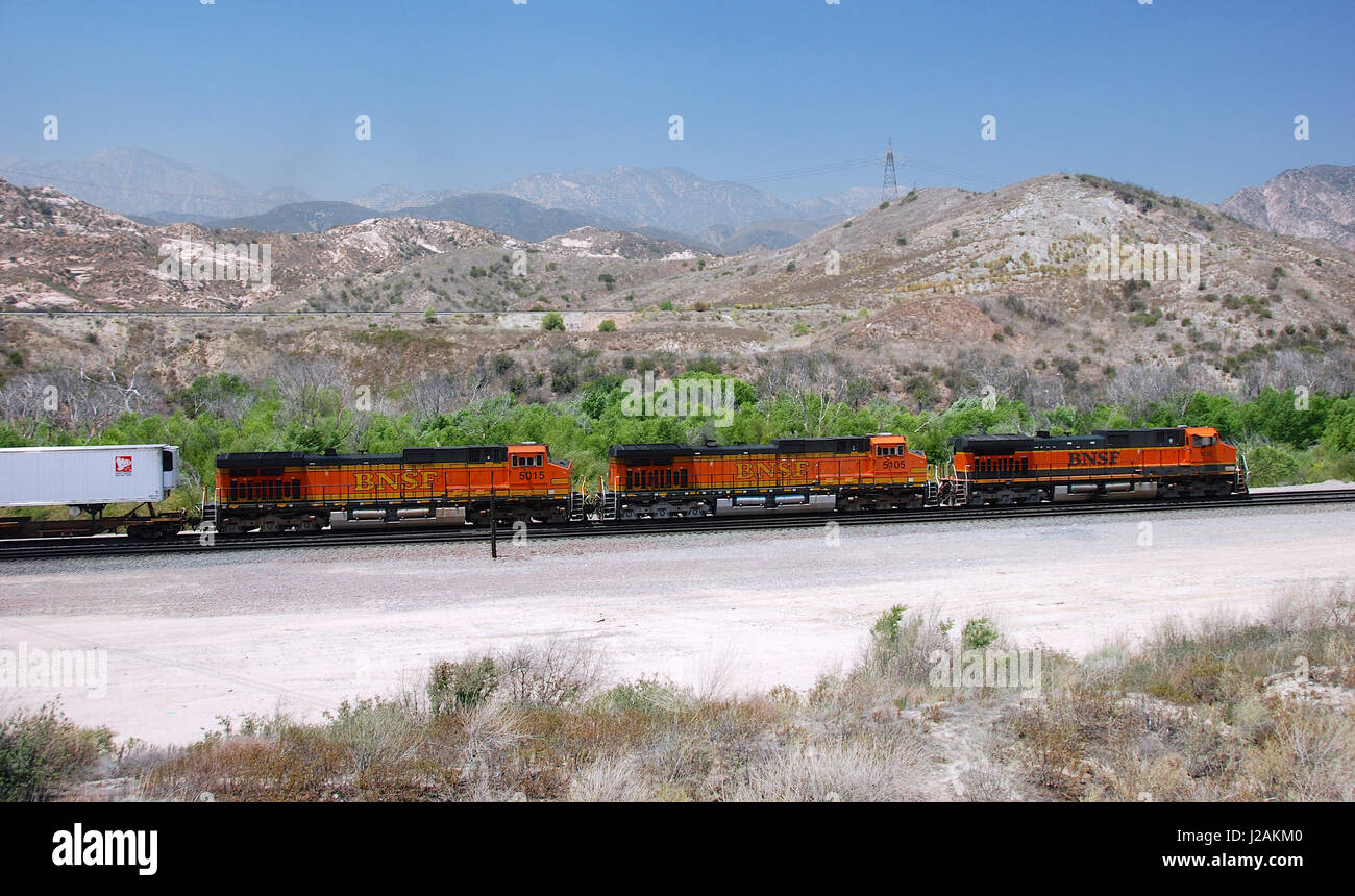 BNSF powered Freight train at Cajon Pass, San Bernardino