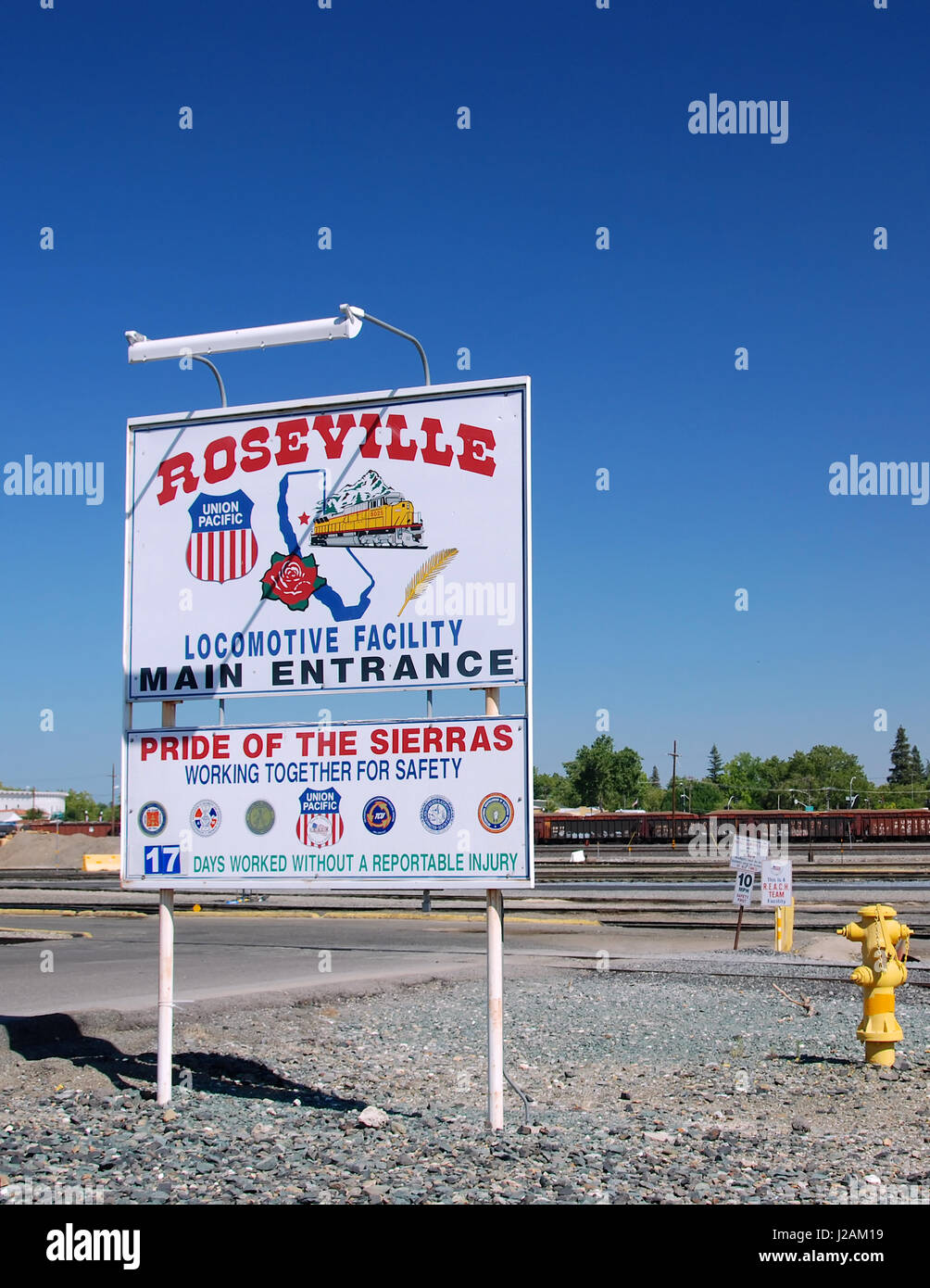 Union Pacific sign at Roseville, Placer County, California