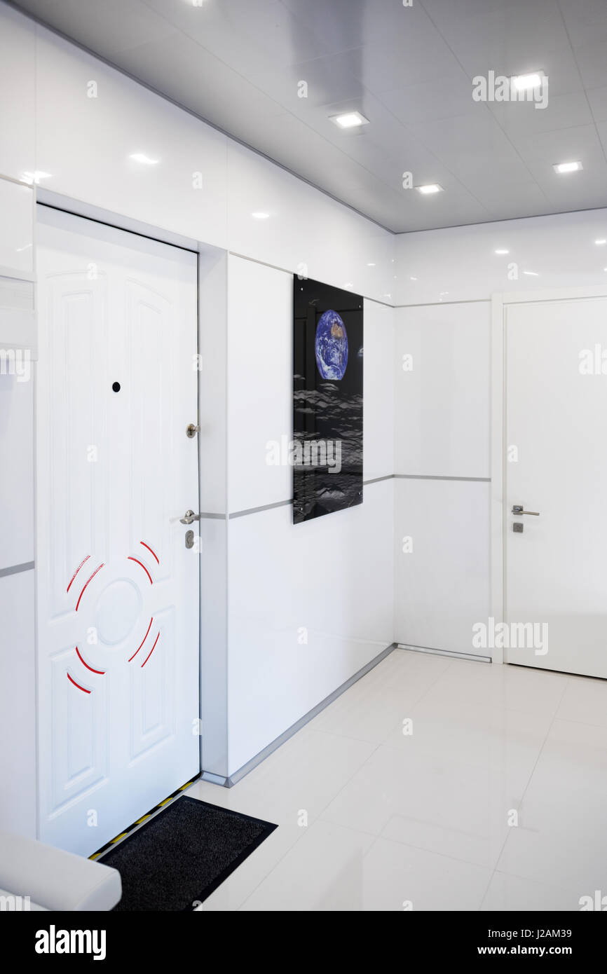 Modern Home Hallway Interior White Plactic Panels And Tiles