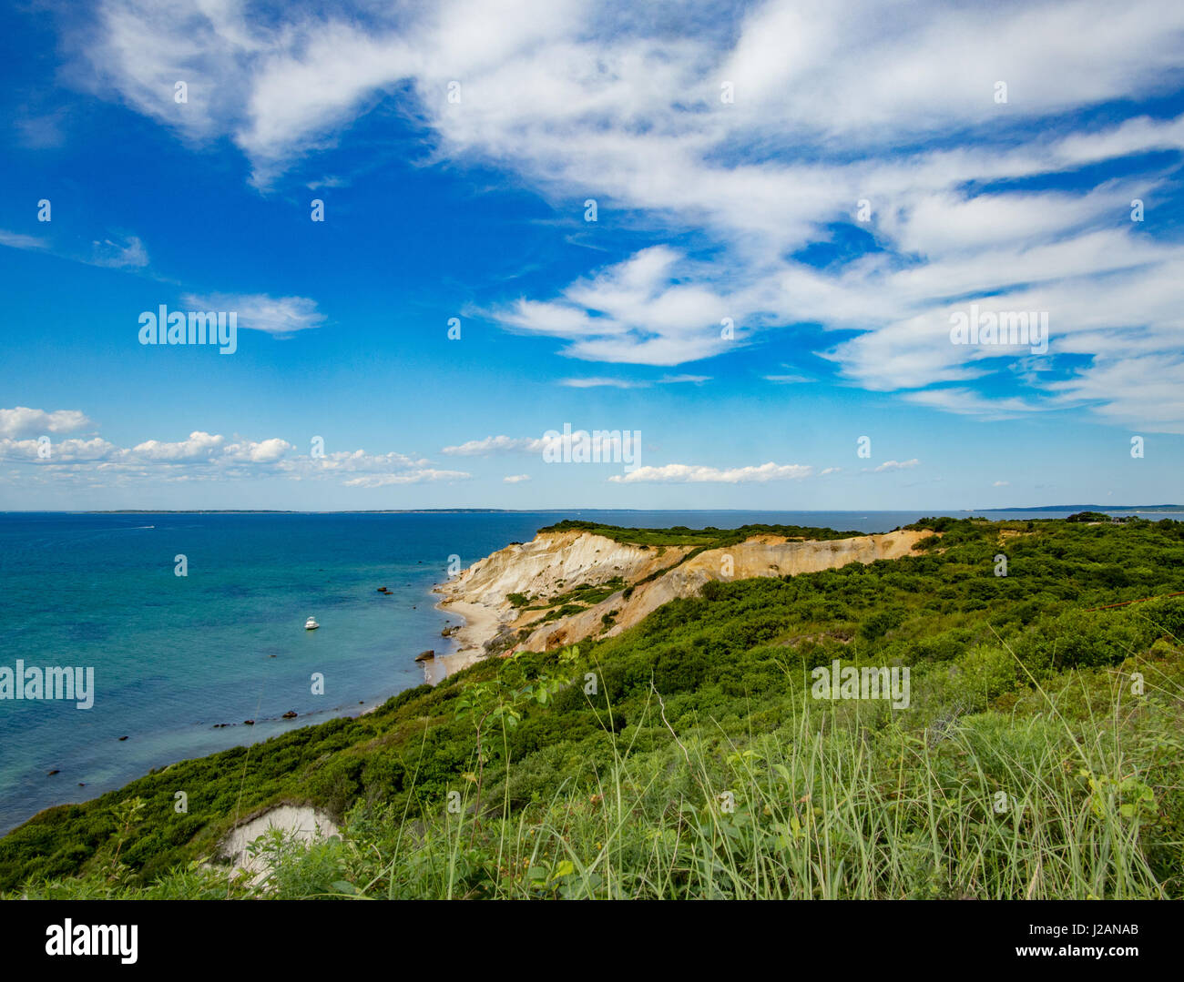The coast of Martha's Vineyard featuring its beach side cliffs - Stock Image
