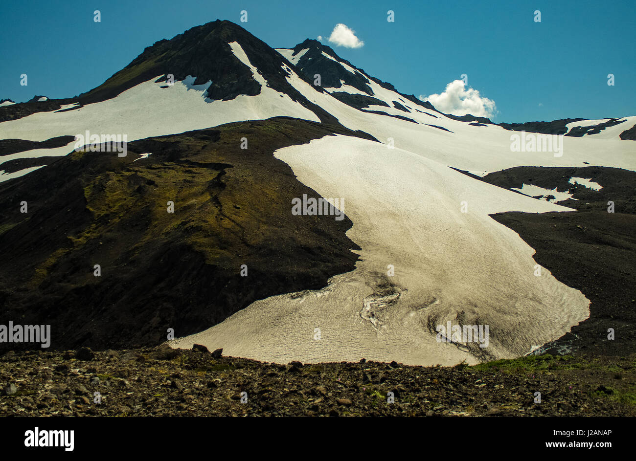 Receded glacier in Kachemak State Park. - Stock Image
