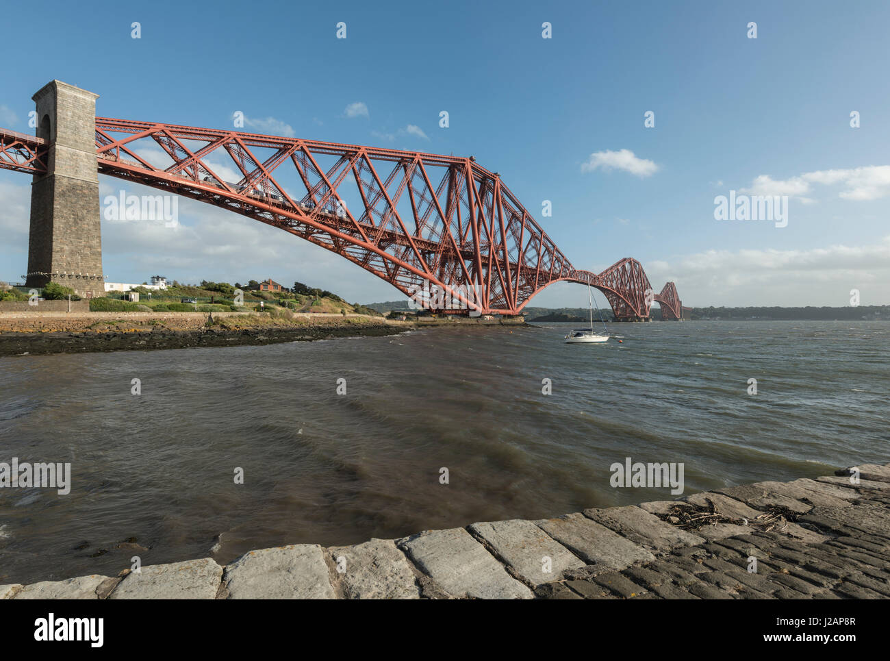 Forth bridge looking south, North Queensferry, Scotland, United Kingdom Stock Photo
