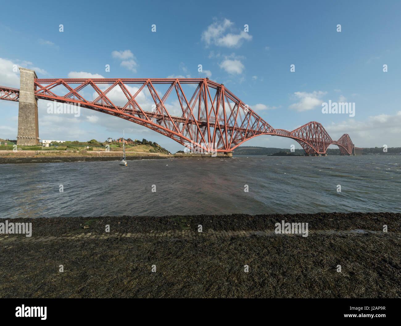 Forth bridge looking south, North Queensferry, Scotland, United Kingdom Stock Photo