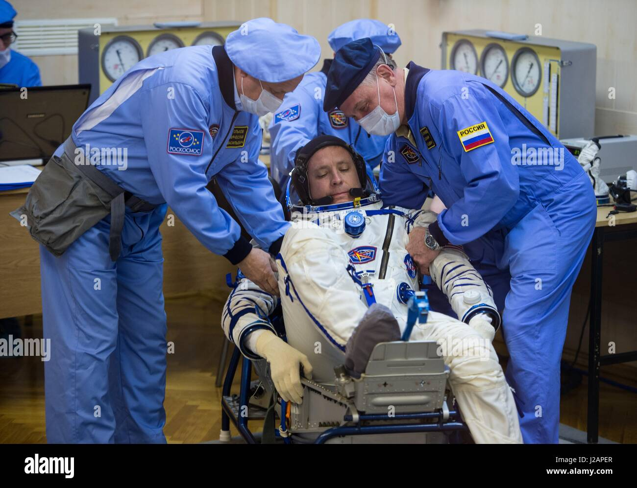 NASA International Space Station Expedition 51 prime crew member American astronaut Jack Fischer has his Russian - Stock Image