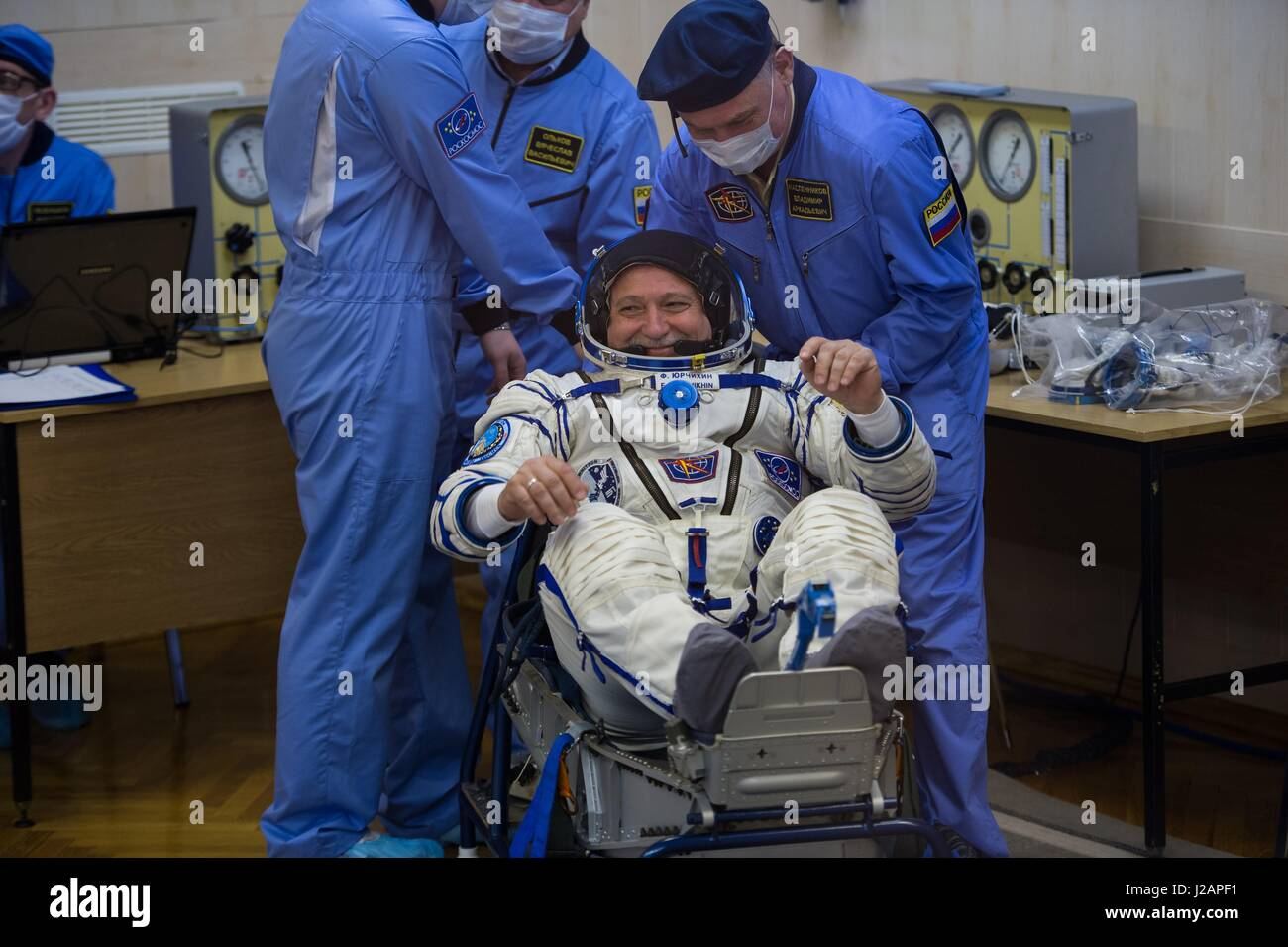 NASA International Space Station Expedition 51 prime crew member Russian cosmonaut Fyodor Yurchikhin of Roscosmos - Stock Image