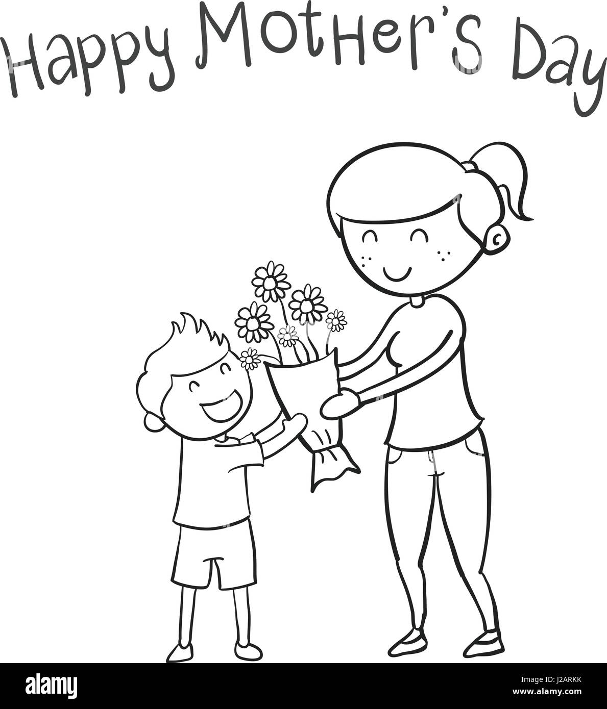 Happy mother day hand draw Stock Vector Art & Illustration ...