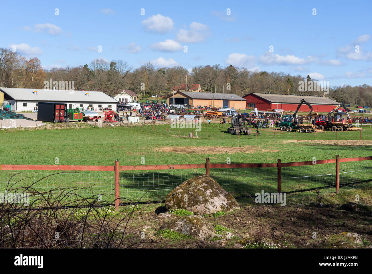 Brakne Hoby, Sweden - April 22, 2017: Documentary of small public farmers day. The agricultural school yard used - Stock Image