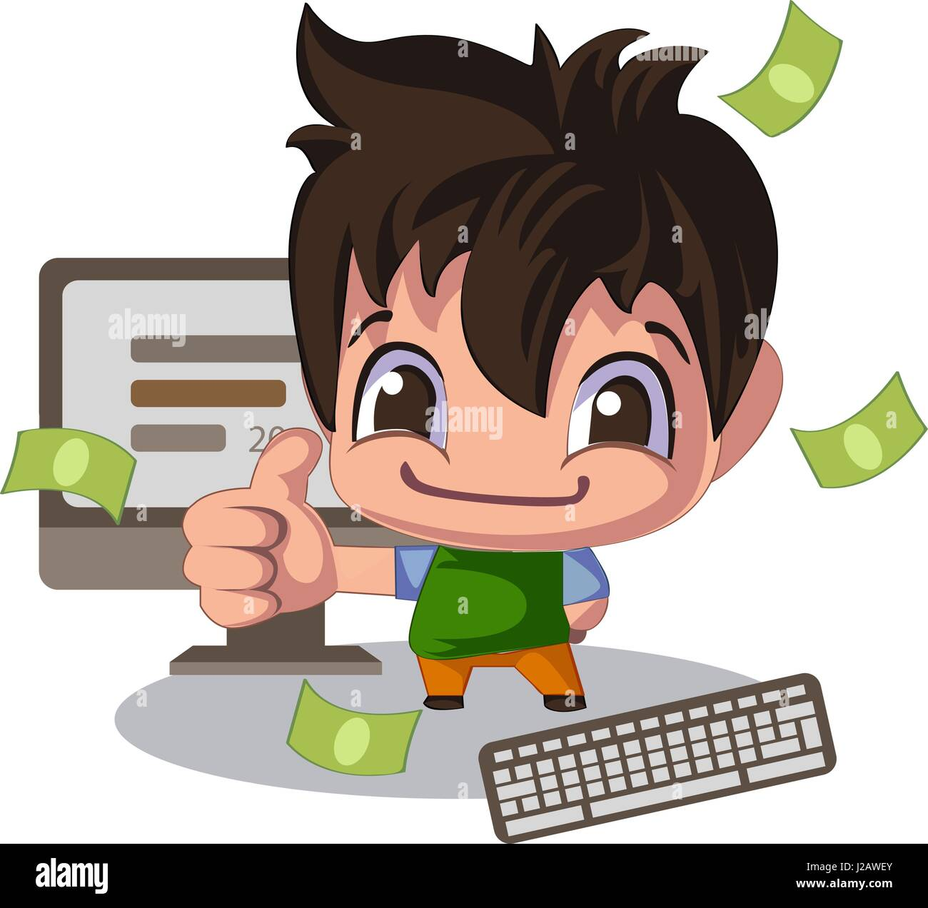 Man In A Cartoon Style Thumb Up Sales Manager Or Illustration Of