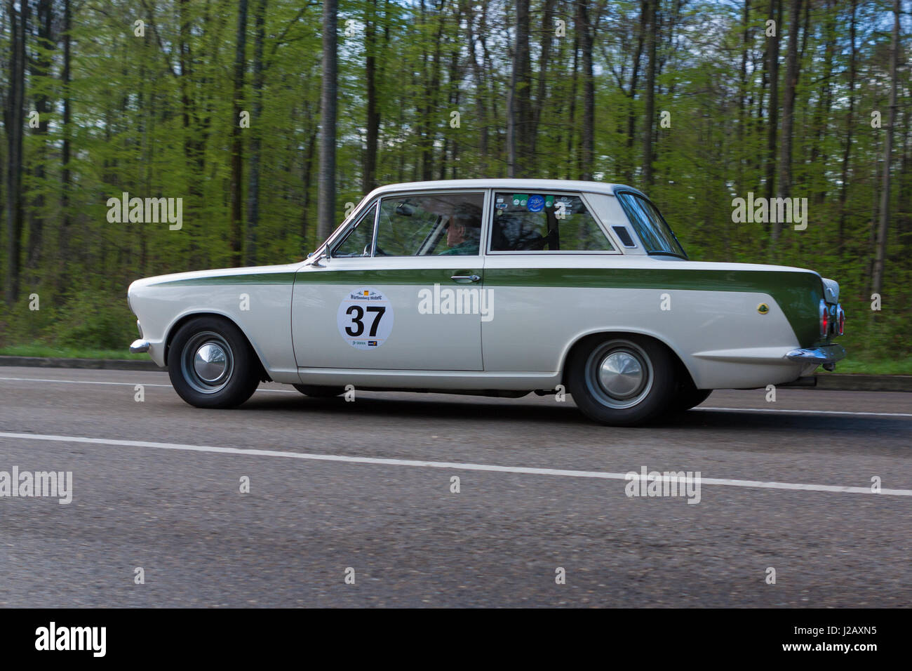 HEIDENHEIM, GERMANY - MAY 4, 2013: Manfred Krehle and Silvia Bogenrieder in their 1965 Ford Lotus Cortina at the Stock Photo