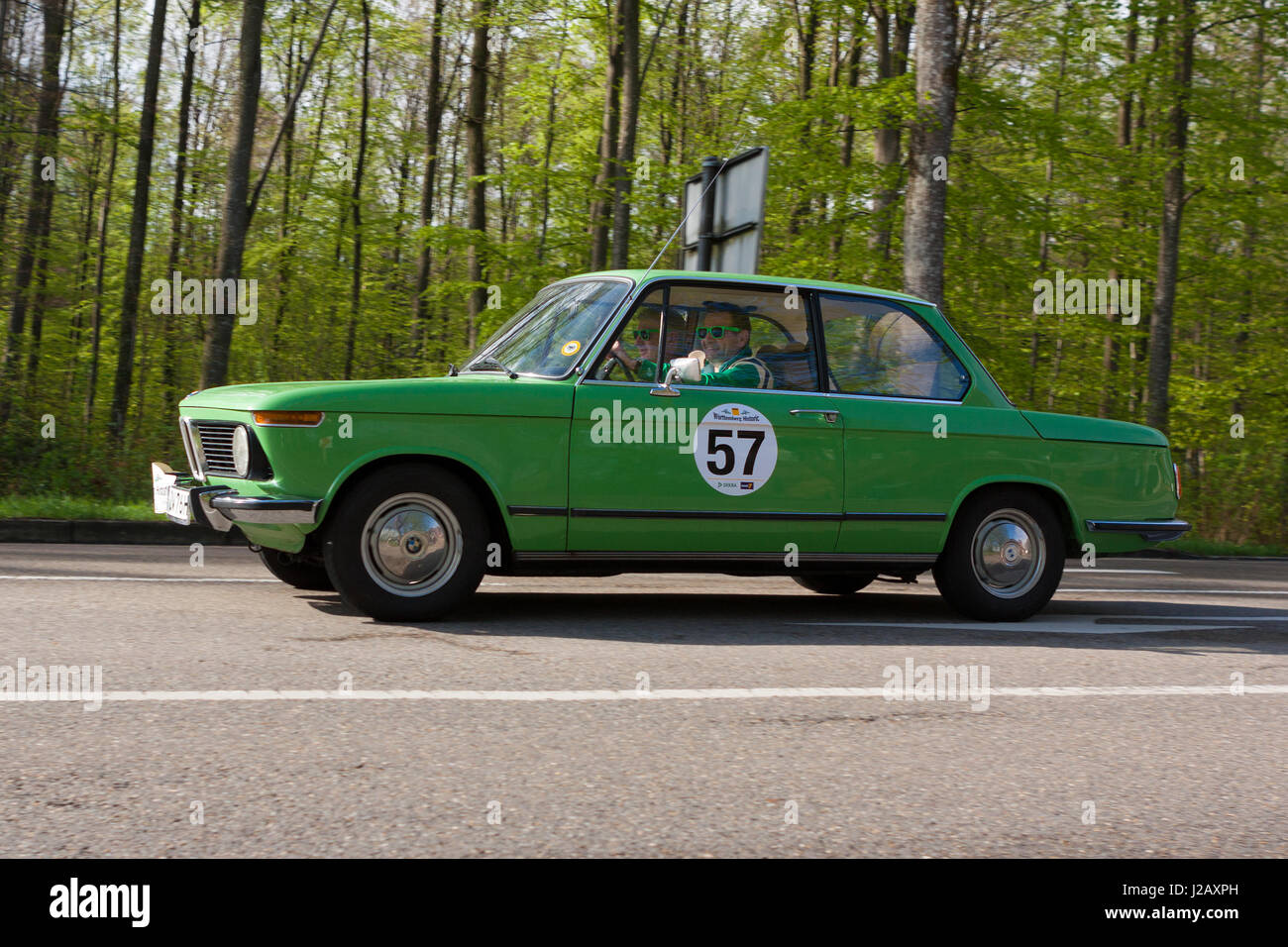 HEIDENHEIM, GERMANY - MAY 4, 2013: Uwe Thalheimer and Michael Moser in their 1976 BMW 1502 at the ADAC Wurttemberg - Stock Image