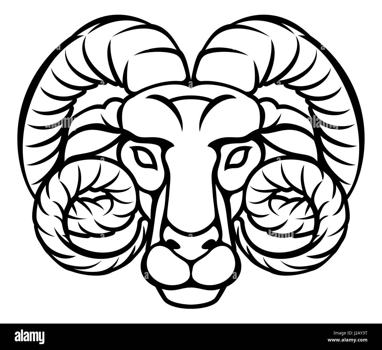 Astrology signs circular Aries ram zodiac horoscope symbol - Stock Image
