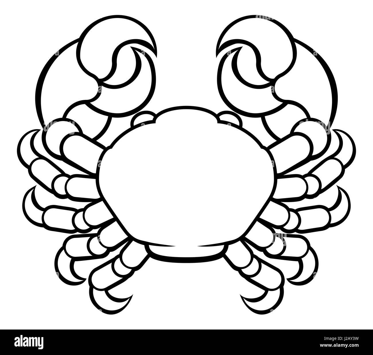 Astrology horoscope zodiac signs, circular Cancer crab symbol - Stock Image