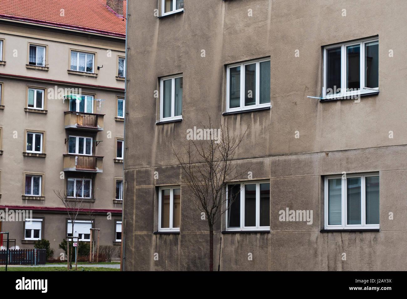 old communist era block of flats buildings - Stock Image
