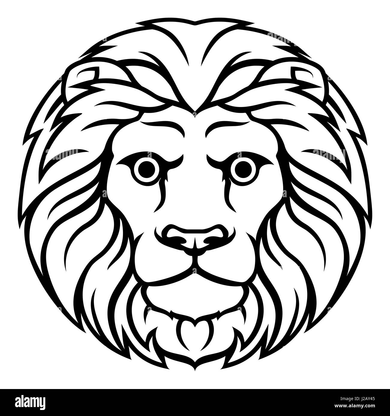 Astrology Horoscope Zodiac Signs Circular Leo Lion Symbol Stock