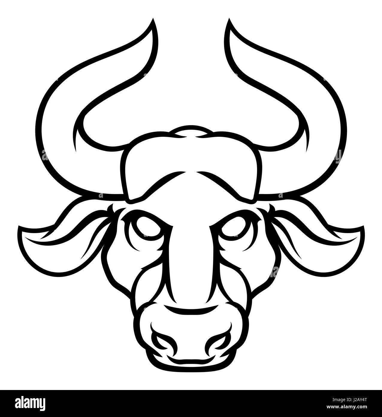 Astrology horoscope zodiac signs, circular Taurus bull symbol - Stock Image