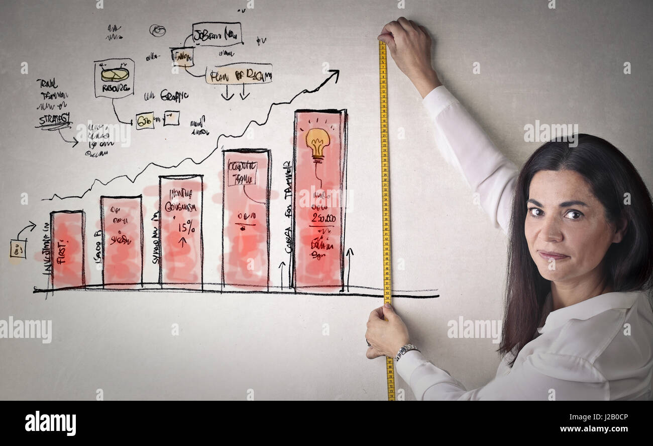 Woman measuring business statistic - Stock Image