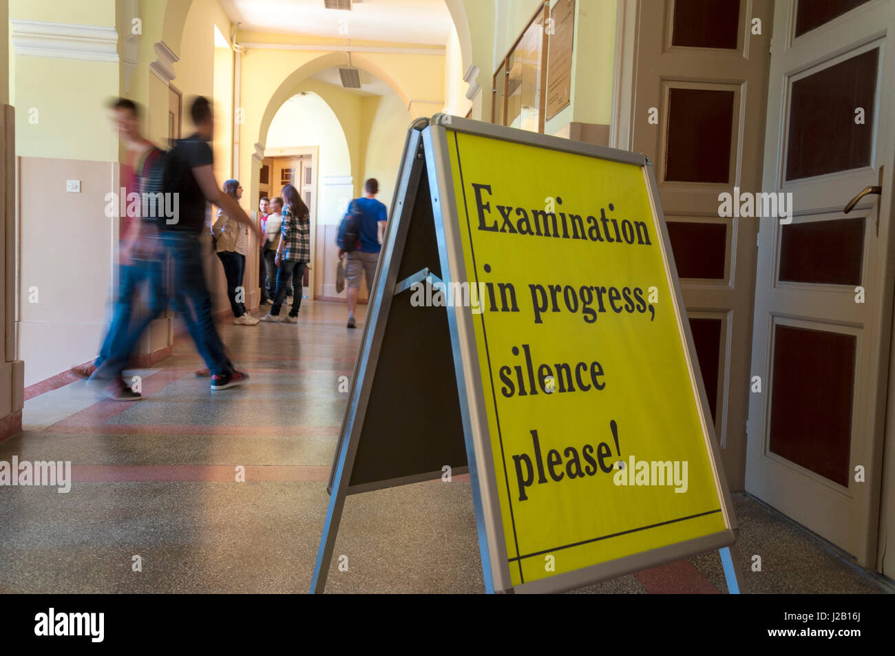 Examination in Progress Silence Please. Sign at UWC International School in Mostar, Bosnia Herzegovina. - Stock Image