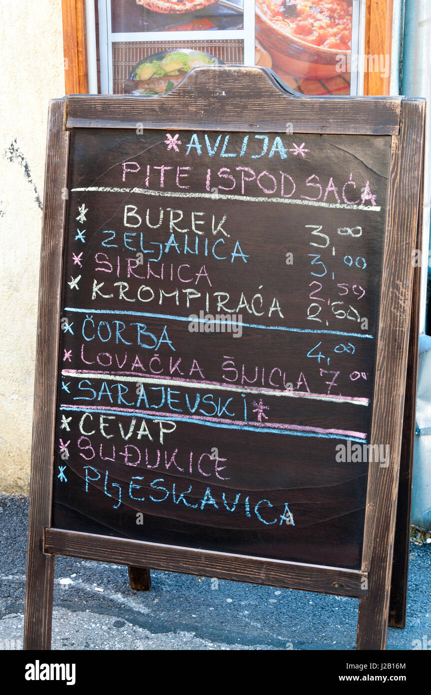 Mostar,  Bosnia and Herzegovina, Cafe menu. Daily life. - Stock Image