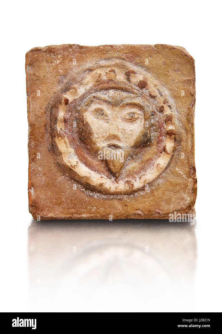 6th-7th Century Byzantine Christian Terracotta tiles depicting Christ - Produced in Byzacena -  The Bardo Museum - Stock Image