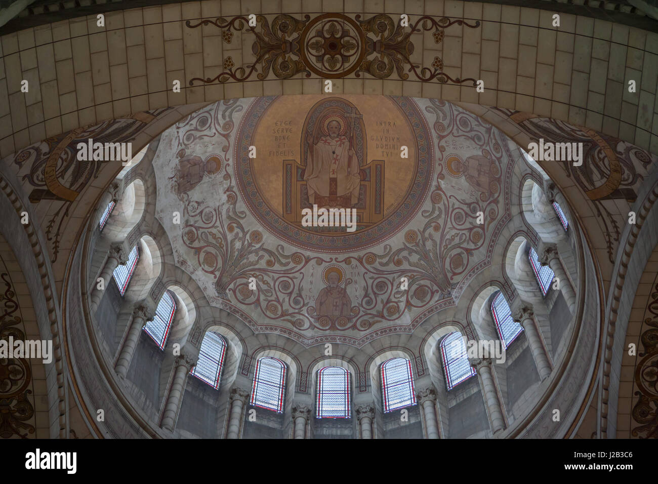 Mural paintings by French painter Pierre Fritel in the dome of the Basilica of Saint Martin (Basilique Saint-Martin Stock Photo