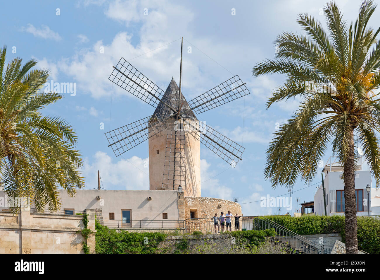windmill at Paseo Maritimo in Palma de Mallorca, Spain - Stock Image