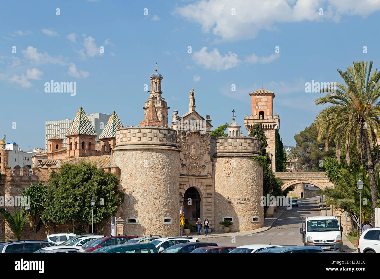 entrance portal of Poble Espanyol in Palma de Mallorca, Spain - Stock Image