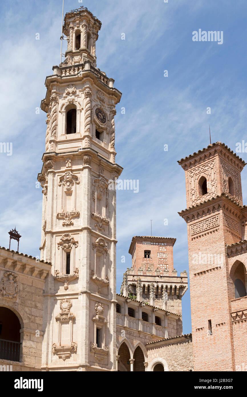 Plaza Mayor at Poble Espanyol in Palma de Mallorca, Spain - Stock Image