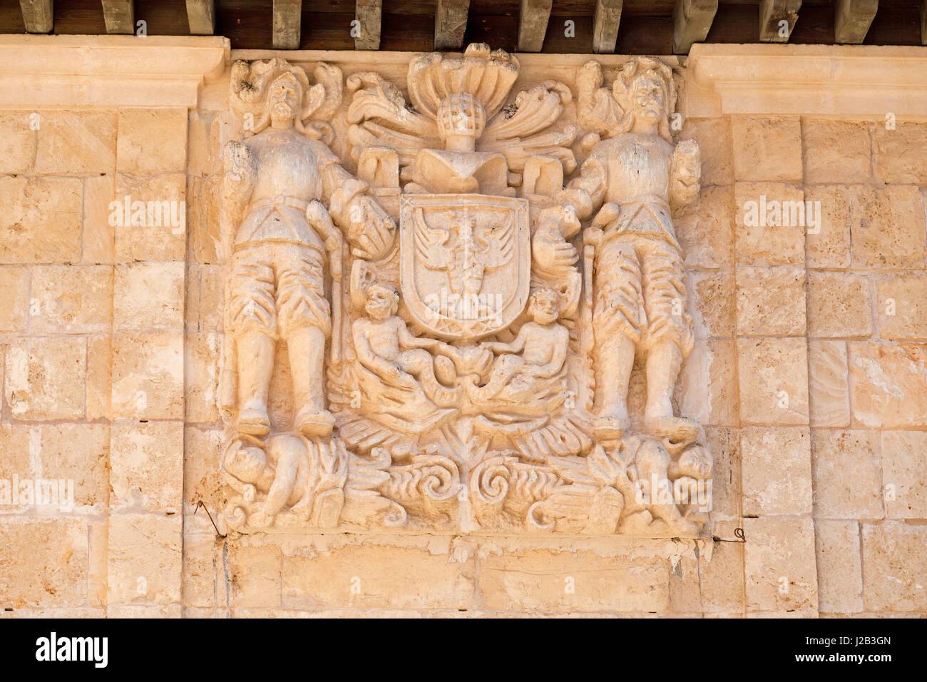 relief at Poble Espanyol in Palma de Mallorca, Spain - Stock Image