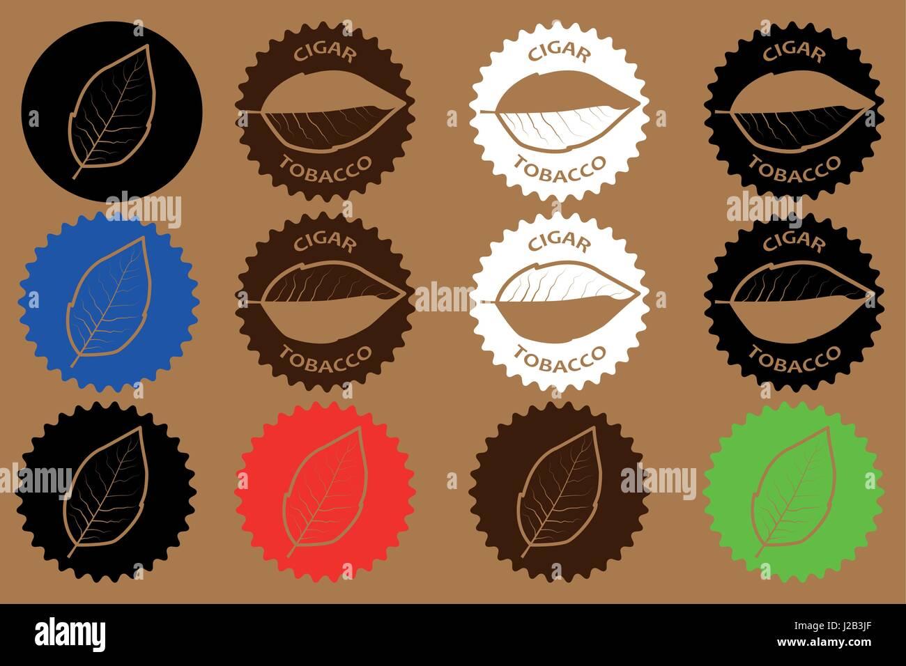 tobacco cigar sticker - vector illustration - Stock Vector