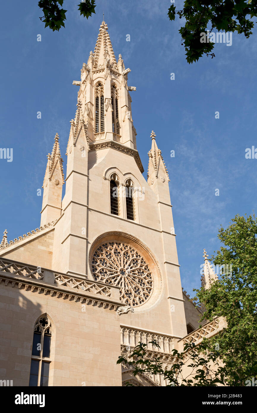 church spire of Santa Eulalia in Palma de Mallorca, Spain - Stock Image