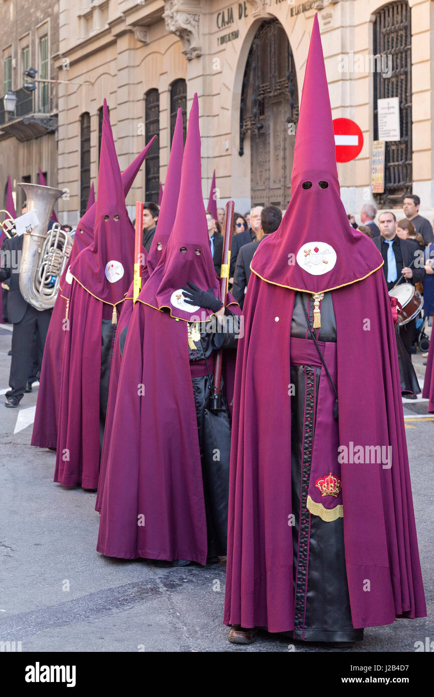 Good Friday Procession at Placa St. Francisco in Palma de Mallorca, Spain - Stock Image