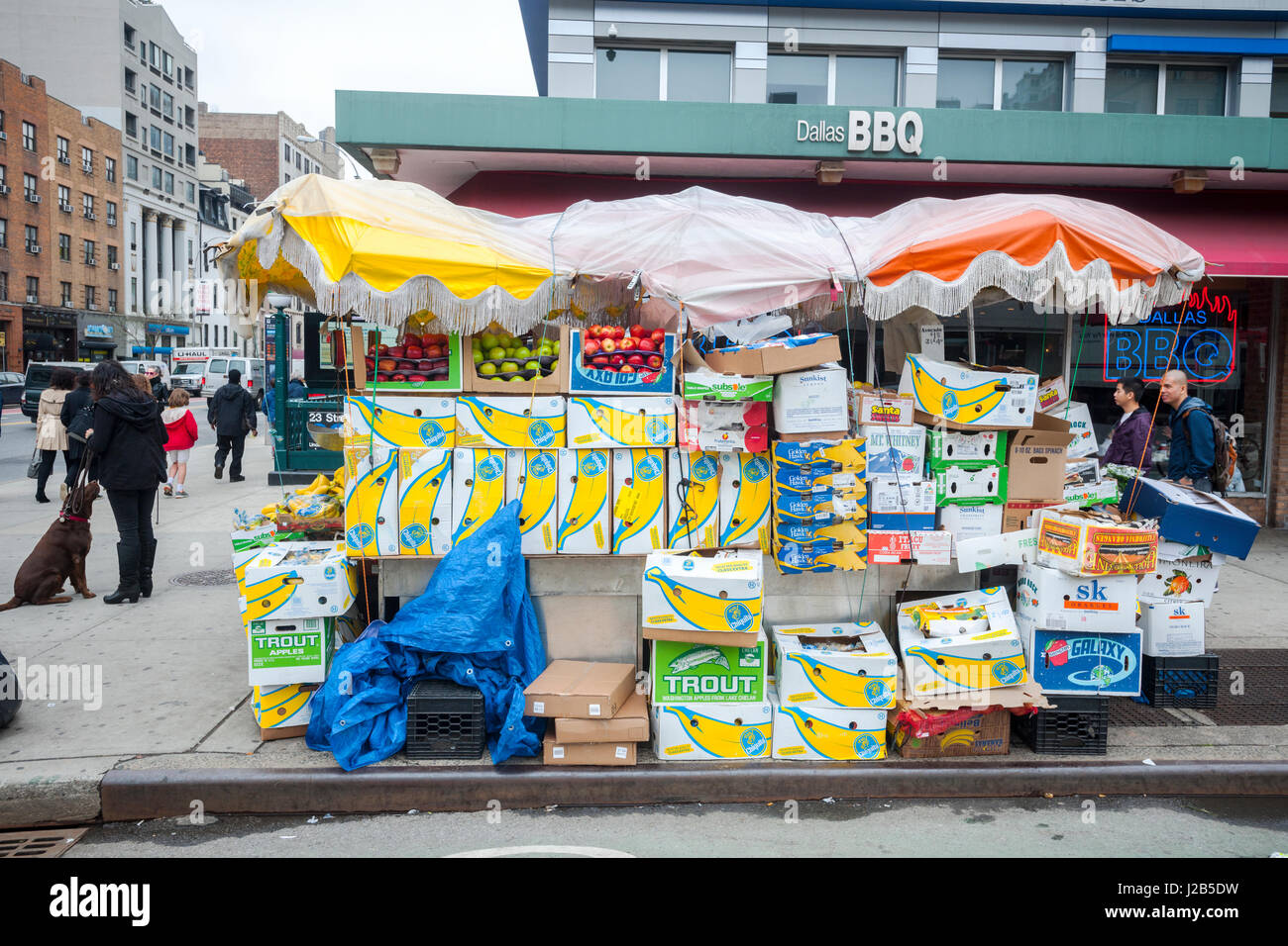 A fruit and vegetable stand in the Chelsea neighborhood of New York on Friday, April 21, 2017.  (© Richard B. Levine) Stock Photo