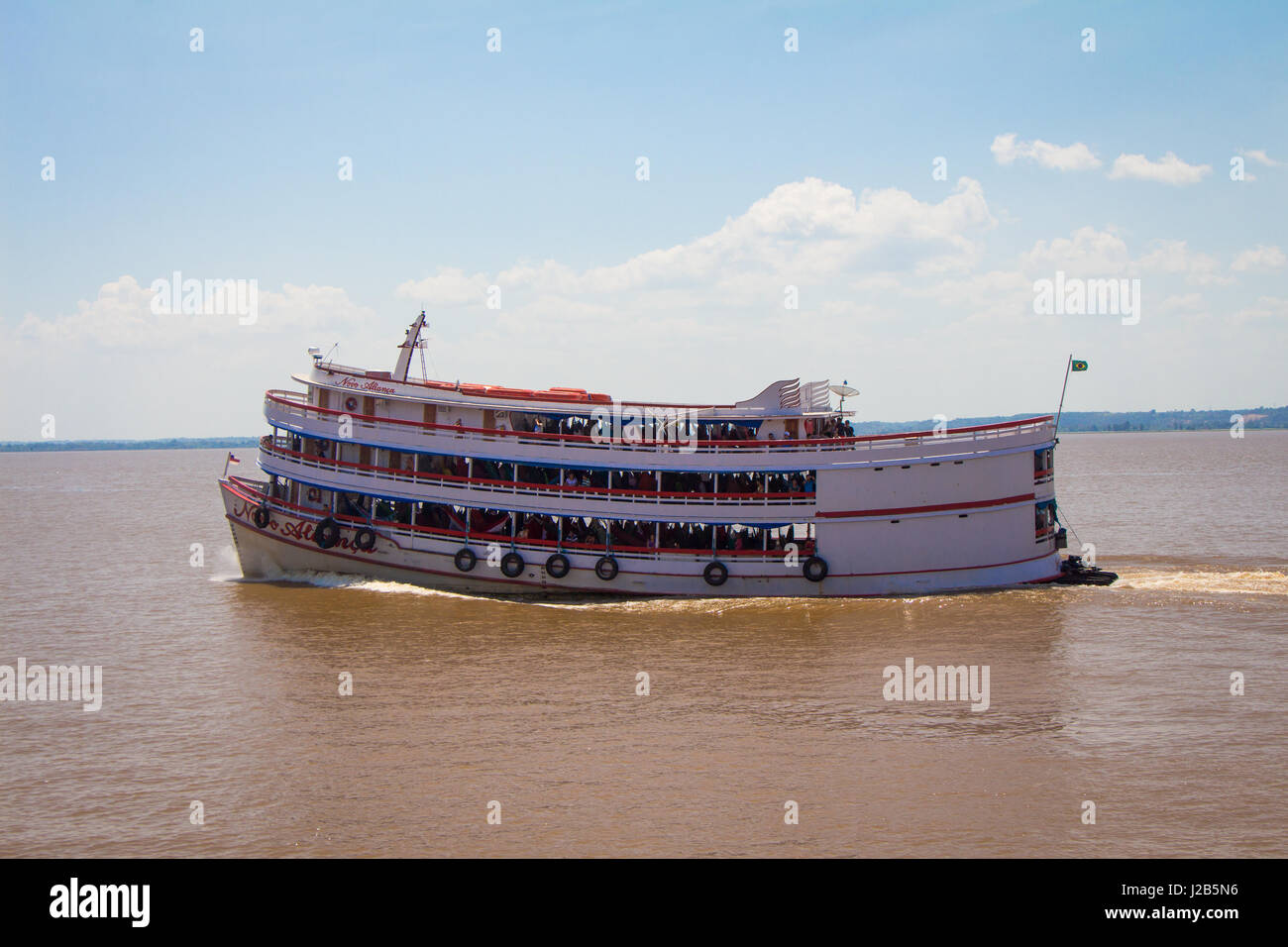 SANTAREM, PARA, BRAZIL - 3 OCTOBER 2015 - Typical transport boat from the Amazon region sails up the Amazon river - Stock Image