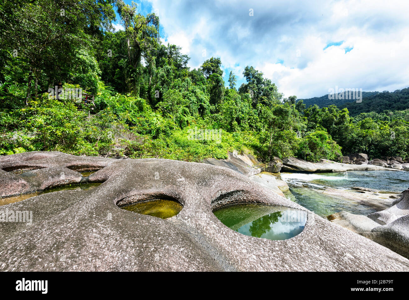 Babinda Boulders, a scenic popular tourist attraction and swimming spot, near Cairns, Queensland, QLD, Australia - Stock Image
