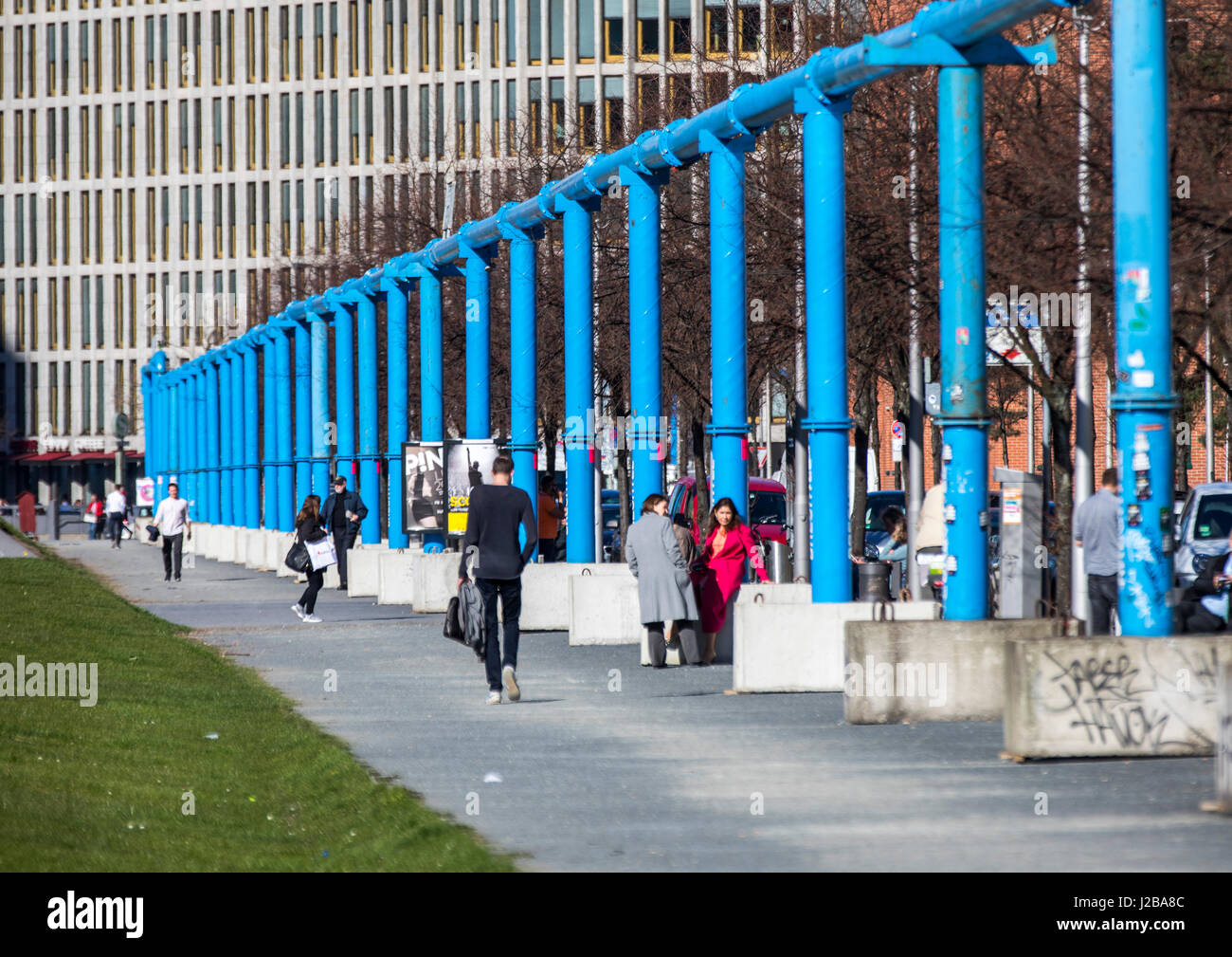 Tilla-Durieux-Park , south of Potsdamer Platz, square, in Berlin, Germany, unearthly water pipes, - Stock Image