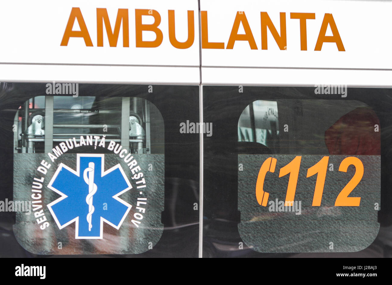 BUCHAREST, ROMANIA, June 4, 2016: Bucharest ambulance service sign and the emergency number. - Stock Image