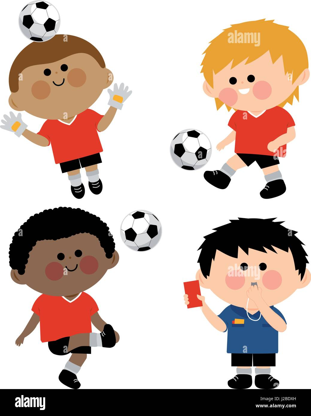 Children soccer players Stock Vector