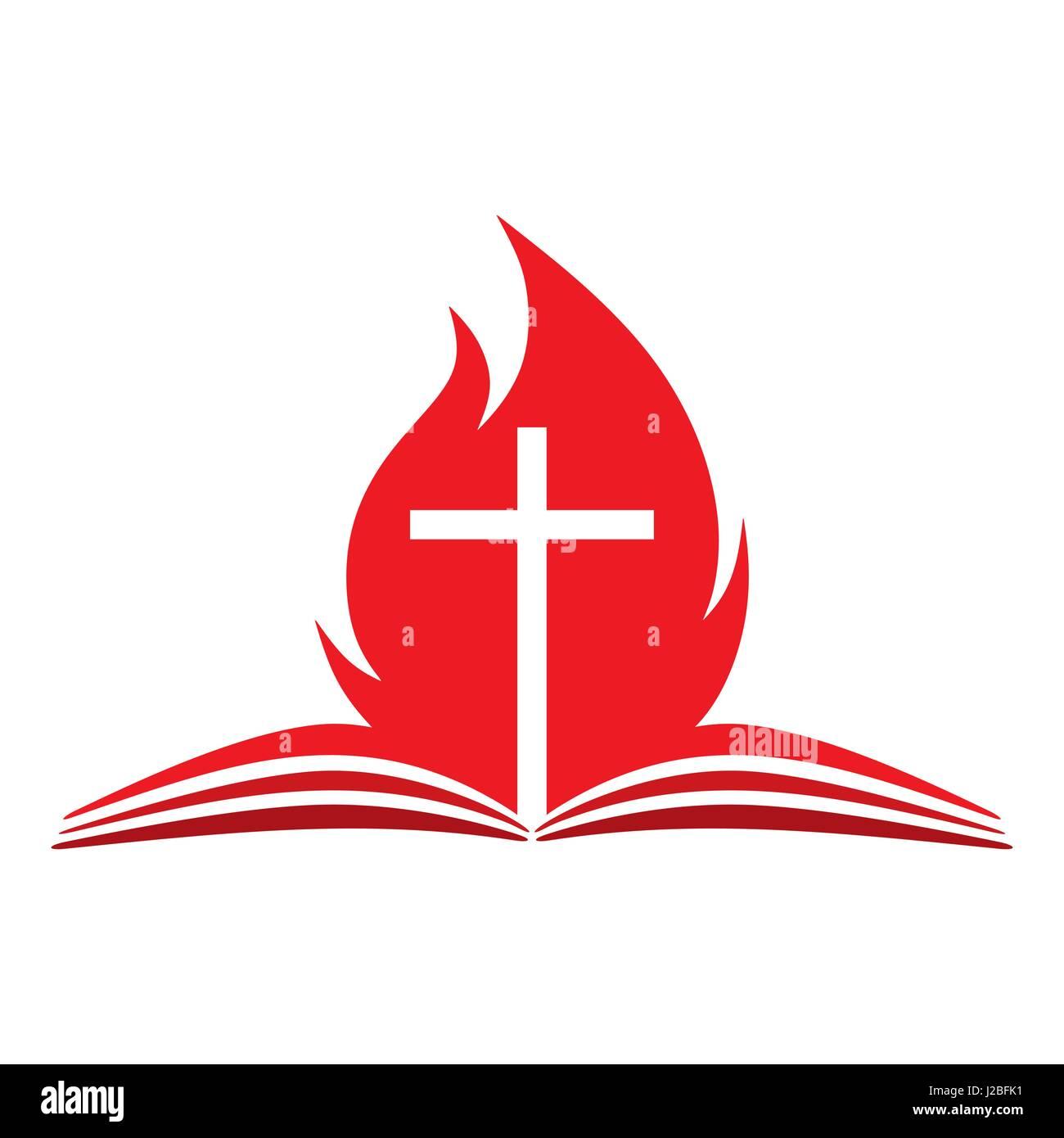 church logo open bible cross and fire stock vector art