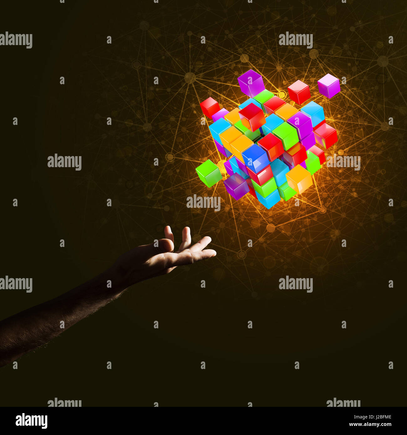 Idea of new technologies and integration presented by cube figure - Stock Image