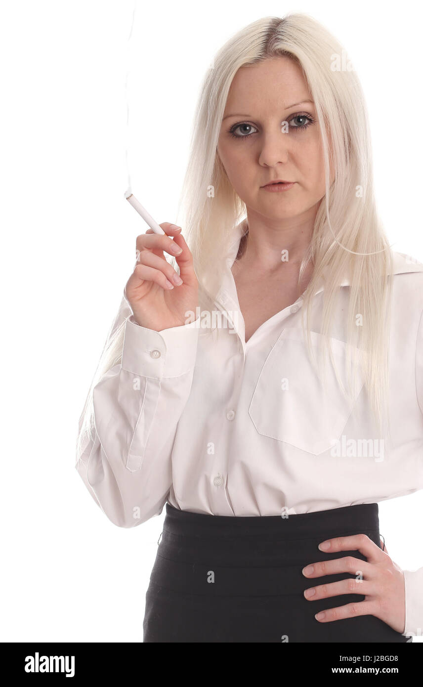 0720bb526ffc91 12th May 2015 - Beautiful blonde young woman in business atire smoking,  white shirt and pencil skirt.