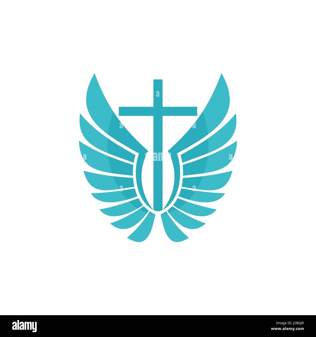 Church Logo Christian Symbols Cross And Wings