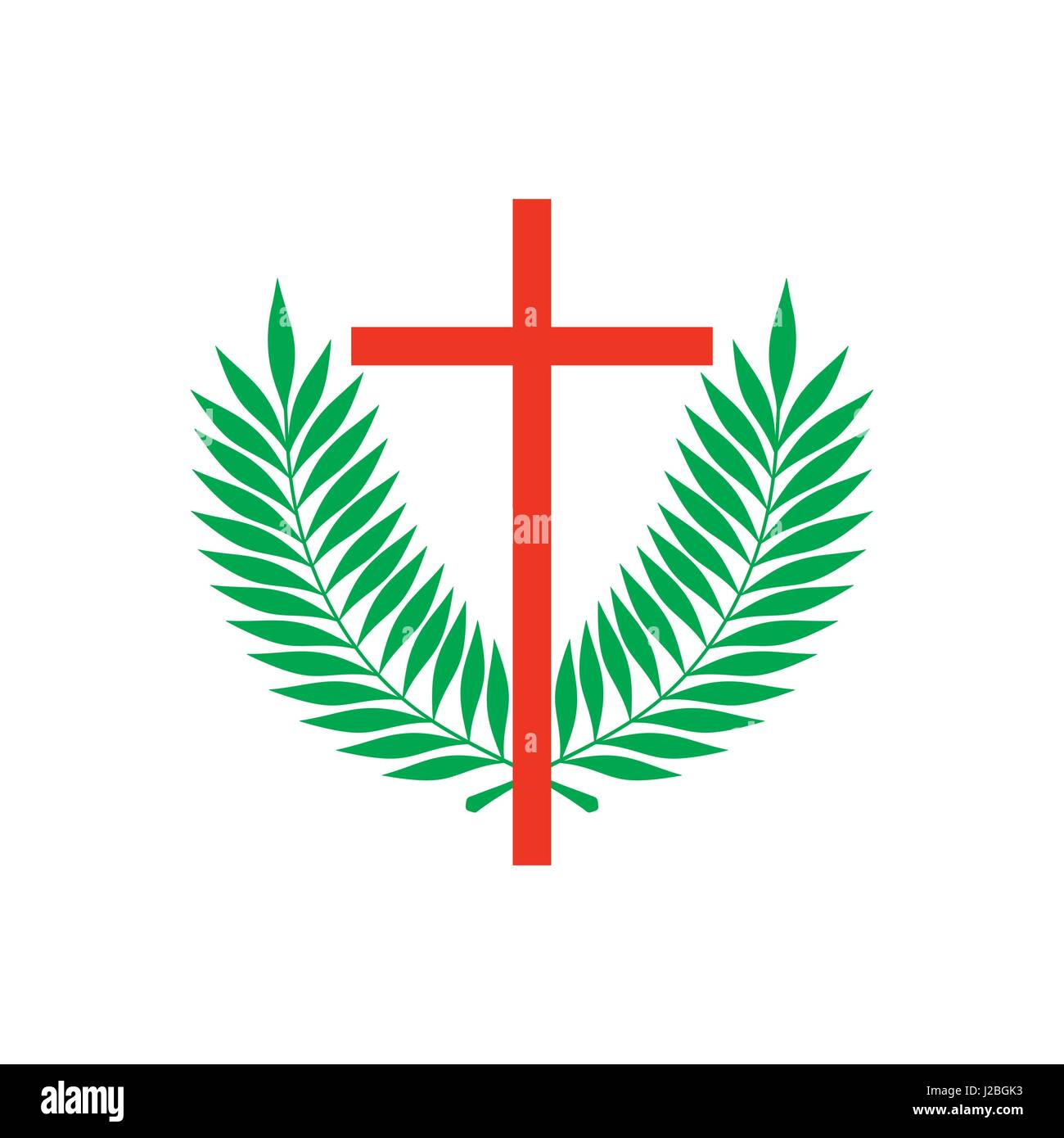 Church Logo Christian Symbols Cross Of Jesus And Palm Branches