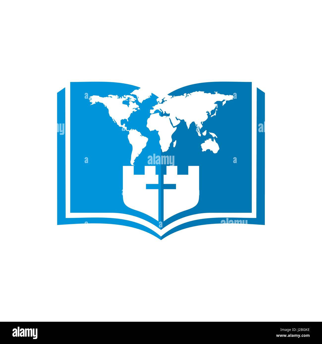 Church logo christian symbols bible world map fortress and cross church logo christian symbols bible world map fortress and cross gumiabroncs Image collections
