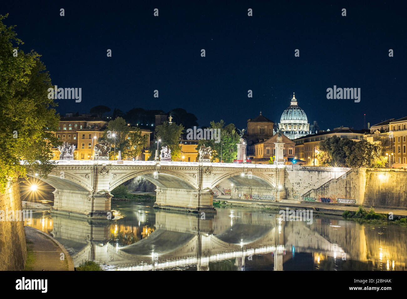 Vatican City, Rome, Italy, Beautiful Vibrant Night image Panorama of St. Peter's Basilica, Ponte St. Angelo and Stock Photo